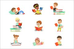 Kids Reading Books And Enjoying Literature Collection Of Cute Boys And Girls Loving To Read Sitting And Laying. Surrounded With Piles Of Books..Clever Children vector illustration