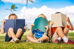 Kids Reading Books Stock Image