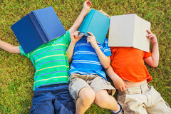 Kids Reading Books Stock Photo