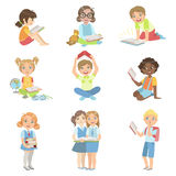Kids Reading Books Icon Set Royalty Free Stock Photo