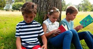 Kids reading books in park stock video