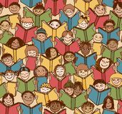 Kids reading books. Seamless pattern of children reading colorful books stock illustration