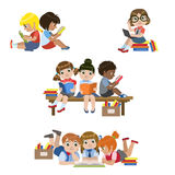Kids Reading Books Set Stock Images