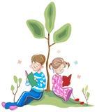 Kids reading. Brush stroke kids reading line art cartoon image Stock Image