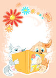 Kids are reading fairy tales. Vector. Card Greeting. Kitten and the puppy are reading the fairy tale, the book, textbook. Around the fairy-tale world, the Royalty Free Stock Photo