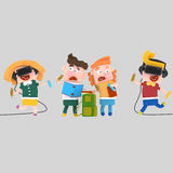 Kids reading and painting with a virtual reality set Royalty Free Stock Images
