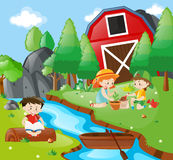 Kids reading and planting in park. Illustration royalty free illustration