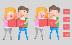 Kids reading a red book. 3d illustration. NnIsolate. Easy automatic ization. Easy background remove. Easy color change. Easy combine. 6000x3800 - 300DPI For royalty free illustration