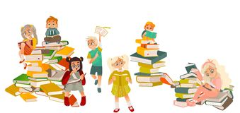 Kids reading, standing, sitting on piles of books vector illustration