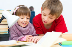 Kids reading royalty free stock photography