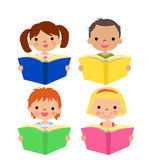 The kids reading on a white background Stock Photography