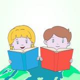 Kids reading on world map cartoon vector stock illustration