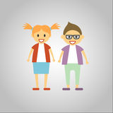 2 Kids ready for school. Happy Boy and Girl on Gray background Stock Images