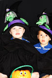 Kids ready for a trick-or-treat. Er dressed up for the halloween ocasion Royalty Free Stock Photos