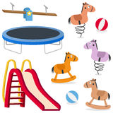 Kids Recreation Ground Games Set. Kids recreation ground games collection: a seesaw, a trampoline, a red slide, kiddie rides and rocking horses, isolated on Stock Photography