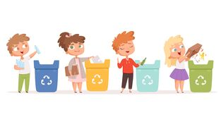 Free Kids Recycling Garbage. Saving Nature Ecology Safe Environment Protection Healthy Recycling Processes Vector Cartoon Stock Images - 170555194