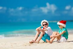 Kids at beach on Christmas Royalty Free Stock Photo