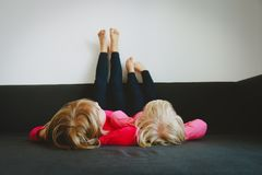 Kids relax at home - home comfort and laziness. Family royalty free stock photography