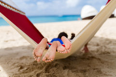Kids relaxing in hammock Royalty Free Stock Photography