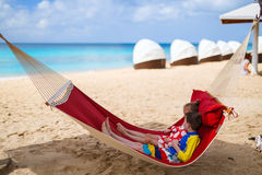 Kids relaxing in hammock Stock Images