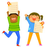 Kids with report cards Stock Images