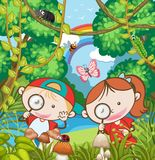 Kids Research in the Forest. Illustration Stock Images