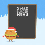 Kids restaurant menu cardboard character. Christmas and New Year winter style. Funny cute burger drawn with a smile, eyes and hand. S. Dressed in Santa hat and Royalty Free Stock Images