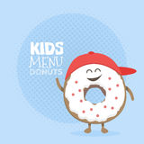 Kids restaurant menu cardboard character. Funny cute donut drawn with a smile, eyes and hands. Kids restaurant menu cardboard character. Template for your Stock Images
