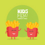 Kids restaurant menu cardboard character. Funny cute drawn french fries friends, with a smile, eyes and hands. Kids restaurant menu cardboard character Royalty Free Stock Photos