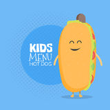 Kids restaurant menu cardboard character. Funny cute hot dog drawn with a smile, eyes and hands. Stock Photos