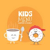 Kids restaurant menu cardboard character. Funny cute mug coffee and donut drawn with a smile, eyes and hands. Royalty Free Stock Photos