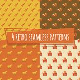 Kids retro seamless patterns with rockets and car. Horse and strength. Vector illustration Royalty Free Stock Image