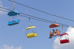 Kids Ride a Sky Tram Through a Fine Blue Sky at the NC State Fai Stock Photography