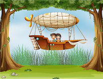 Kids riding in an airship Royalty Free Stock Images