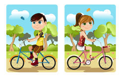 Kids riding bicycle. A vector illustration of a boy and a girl riding bicycle stock illustration