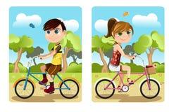 Kids riding bicycle stock illustration