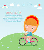 Kids riding bikes, Child riding bike, kids on bicycle vector on background,Illustration of a group of kids biking on a white backg Stock Photo