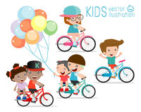 Kids riding bikes, Child riding bike, kids on bicycle vector on white background. Illustration of a group of kids biking on a white background royalty free illustration