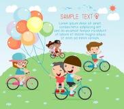 Kids riding bikes, Child riding bike, kids on bicycle vector on white background Royalty Free Stock Photos