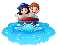 Kids riding a motor boat on the beach. Illustration of Kids riding a motor boat on the beach stock illustration