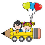 Kids riding a pencil car Royalty Free Stock Image