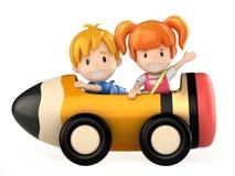Kids riding pencil cart Stock Photo