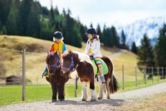 Kids riding pony. Child on horse in Alps mountains Stock Photo