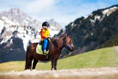 Kids riding pony. Child on horse in Alps mountains Stock Photography