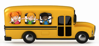 Kids Riding School Bus Stock Photo
