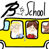 Kids riding on school bus. Handwritten lettering. Back to school Stock Images