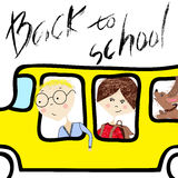 Kids riding on school bus. Handwritten lettering. Back to school. Royalty Free Stock Images