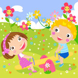 Kids riding on seesaw. Illustrated Isolated Image Royalty Free Stock Photography
