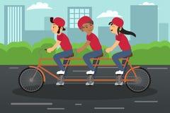 Kids Riding Tandem Bike Royalty Free Stock Photography