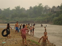 Kids in the river Royalty Free Stock Photography
